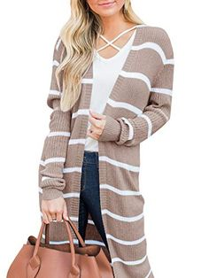 Fudule Women's Long Sleeves Color Block Striped Knitting Cardigan Open Front Warm Sweater Outwear Coats with Button Long Sweater Coat, Loose Knit Sweaters, Warm Sweaters, Long Sweaters, Long Sleeve Sweater, Oversized Sweaters, Cardigan Sweaters, Fall Sweaters For Women, Cardigans For Women