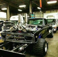 Classic GMC truck with a twin turbo diesel setup 72 Chevy Truck, Classic Chevy Trucks, Chevy Pickups, Classic Gmc, Chevy C10, Dodge Trucks, Chevrolet Trucks, Pickup Trucks, Truck And Tractor Pull