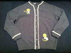 Vintage Wms Gray Cashmere Sweater with Lion Applique - Dalton Brand