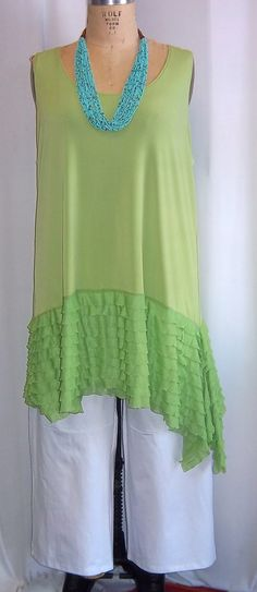 Coco and Juan, Lagenlook, Plus Size Tunic, Kiwi, Green, with Ruffle, Asymmetrical, Plus Size Tank Top, Size 1 Fits 1X,2X Bust  to 50 inches