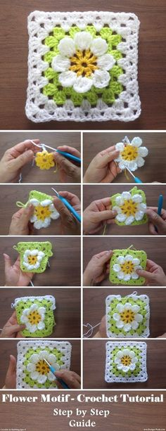 crochet flowers Another inspiring and simple crochet tutorial is available to our readers. Today, we are learning to crochet a rather beautiful flower in a square motif. We are not goi Crochet Motifs, Crochet Blocks, Granny Square Crochet Pattern, Crochet Flower Patterns, Crochet Squares, Crochet Designs, Crochet Flowers, Knitting Patterns, Crochet Stitches