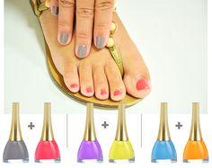 Cores contrastantes para manicure/pedicure