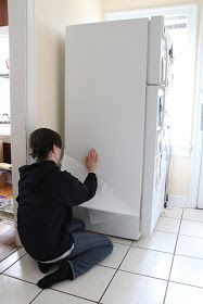 Fridge looking tired? Give it a makeover with contact paper & paint.