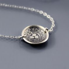 Tiny Etched Silver Nest Necklace by Lisa Hopkins Design