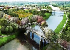 Dutch firm West 8 has designed a masterplan for a new botanical garden in Houston that features a mosaic of gardens and a covered bridge topped with trees