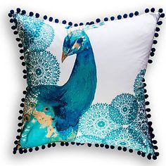 Victoria Classics Diana Peacock Cotton Throw Pillow  #VCNYHome #ThrowPillows #HomeDecor