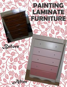 Painting laminate furniture cheaply and easily! Painting Laminate Furniture, Painted Furniture, Dresser Painting, Refinished Furniture, Upcycled Furniture, Furniture Making, Diy Furniture, Paint Stain, Diy Projects To Try