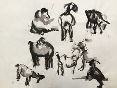 Geitjes, ink, Lida Meines, 1993 Moose Art, Animals, Painting, Shop Signs, Animales, Animaux, Painting Art, Paintings, Animais