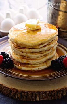 Easy Homemade Pancakes Recipe ~ Light, Fluffy, Delicious Pancakes Recipe Made with Pantry Staples that You Will Have in your House! Never go back to Pancake Mix! ~ http://www.julieseatsandtreats.com