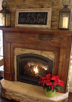 Beautiful fireplace...simple mantle decor. Love it!...