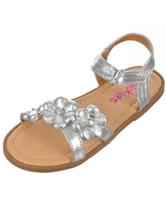Take her spring and summer outfit to the next level with these Yokids sandals! Faux leather upper comes with a Velcro closure and bejeweled flower accents. Gum sole pairs with a cushioned insole.    Synthetic Upper  Imported