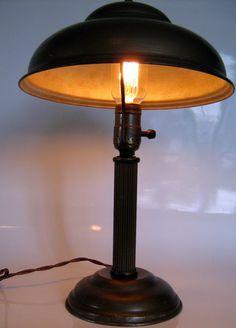 VINTAGE mushroom bronze industrial library DESK LAMP by BranMixArt