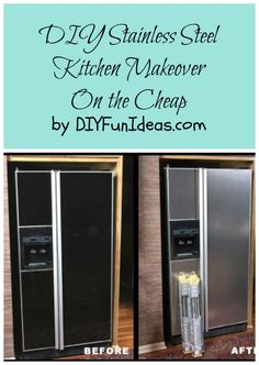 DIY STAINLESS STEEL KITCHEN MAKEOVER ON THE CHEAP | ...............Tons more DIYs at DIYFunIdeas.com