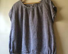 Linen jumper dress/ apron dress for women in natural by YUIbasics