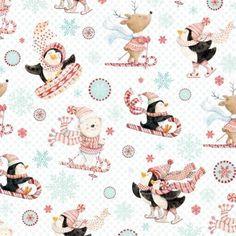 Studio E Peppermint Penguin by Lucie Crovatto 3018S 08 White Skiing Cotton Fab #StudioE