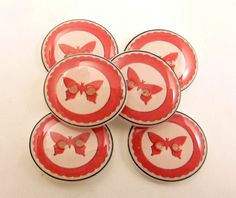 "6 White and Pink Butterfly Handmade Buttons. Decorative Novelty or Craft Sewing Buttons. 3/4"" or 20 mm. by buttonsbyrobin on Etsy"