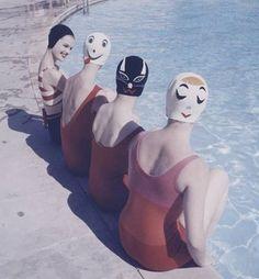 Fashionable History: Swim Wear By Decade- 1950's- kitty cat swim cap