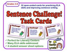 Sentence Challenge Task Cards: Open-Ended Practice for a variety of skills. $