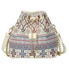 Drawstring Bag Patchwork Patterns Shoulder Messenger Bag Women Handbag Chain Bag Diagonal Package Canvas Totes