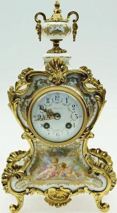 Rare Antique French Meissen Hand Painted & Gilt Porcelain Rococo Mantel Clock