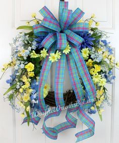 Spring Wreath on Grapevine with Blue and Yellow Flowers, Spring Grapevine Wreath, Easter Grapevine Wreath, Mother's Day Grapevine Wreath by WruffleWreathsbyLana on Etsy
