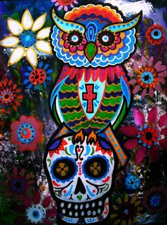 Day Of The Dead Owl Painting by Pristine Cartera Turkus - Day Of The Dead Owl Fine Art Prints and Posters for Sale