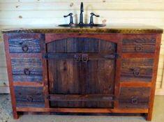 Rustic Bathroom Vanity - Dual Sink - Reclaimed Barn Wood Vanity w/Barn Tin Reclaimed Wood Bathroom Vanity, Reclaimed Wood Vanity, Rustic Vanity, Rustic Bathroom Vanities, Diy Bathroom Vanity, Reclaimed Barn Wood, Bathroom Ideas, Vanity Redo, Barnwood Doors