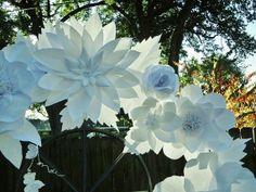 Large White  Paper Flowers Wedding Backdrop. Can be done in other colors.