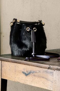 CHLOE GALA SMALL BUCKET BAG IN LONG HAIR-CALF PONY-LIKE & SMOOTH CALFSKIN DARK VELVET