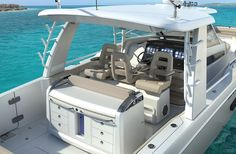 The 420 Outrage is the newest and largest model to date from Boston Whaler. She has innovative seating designs at the helm that is really like no other. The 420 Outrage will debut at the Fort Lauderdale Boat Show. Deep Sea Fishing Boats, Sport Fishing Boats, Fort Lauderdale Boat Show, Boston Whaler Boats, Saltwater Fishing Gear, Fishing Tips, Boating License, Fishing Yachts, Center Console Fishing Boats