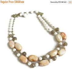 Vintage Double Strand Necklace with Lucite & Filigree Ball Beads by MyVintageJewels on Etsy