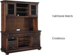 Ashley Porter Crendenza with Tall Desk Hutch Tall Desk, The Porter, Desk Hutch, Dream Furniture, Home Office Decor, Home Decor, Furniture Collection, Sweet Home