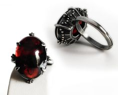 Red Garnet ring Silver ring Red ring red stone ring by Aranwen