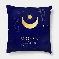 Golden Moon Goddess on Dark Blue Galactic Background - Moon Goddess - Pillow | TeePublic