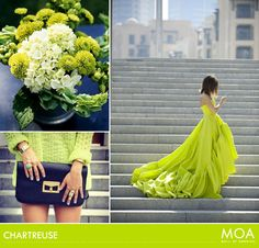Shocking Chartreuse: The Love It/Hate It Color of the Late Century Blue Bridesmaid Dresses, Fashion Pictures, My Favorite Color, Green Dress, Color Inspiration, Wedding Styles, Wedding Colors, Color Combinations, Dress To Impress