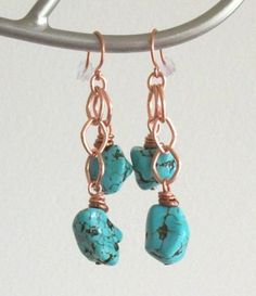 Copper and Turquoise Magnesite Stone Dangle Earrings