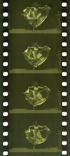 35 mm filmstrip of the Edison production Butterfly Dance (ca. 1894–95), featuring Annabelle Whitford Moore, in the format that would become standard for both still and motion picture photography around the world.