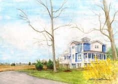 Original watercolor portraits of houses, apartment buildings, & townhouses make beautiful and unique gifts -- especially when they are not just