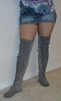 Elf Boots Handmade Moccasins Over the knee/ thigh high suede w/rubber soles Order your size on Etsy, $225.00