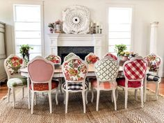 The Cottage French Look – Chair Whimsy Nothing says Cottage French more than pattern play on white. Mixing and matching fabrics takes some trial and error with each project—you won't get it exactly perfect the first time you put… Funky Furniture, Painted Furniture, Outdoor Furniture Sets, French Decor, French Country Decorating, Cottage Decorating, Décor Boho, French Country House, French Cottage