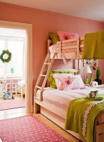 Connie Braemer - Adorable pink & green girl's bedroom design with bunk beds, pink walls paint color, soft pink and green bedding and pink rug. Teenage Girl Bedrooms, Little Girl Rooms, Girls Bedroom, Tween Girls, Dream Bedroom, Home Bedroom, Bedroom Decor, Bedroom Ideas, Bedroom Designs