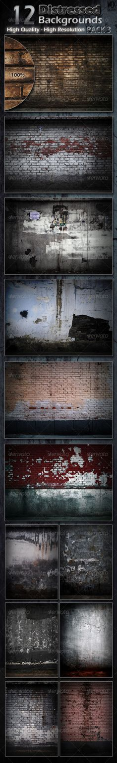 Distressed Background Textures Pack 3 #GraphicRiver These high resolution distressed background images are perfect for posters, flyers, overlays and backgrounds. Give your image that dirty, dark, grunge look in seconds. File includes: – 6 portrait images at 2480×3508 300dpi - 4 landscape images at 3508×2480 300dpi Enjoy Created: 5May12 GraphicsFilesIncluded: PhotoshopPSD #JPGImage Layered: No MinimumAdobeCSVersion: CS PixelDimensions: 3508x2480 PrintDimensions: 11.6x8.2 Tags: background…