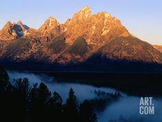 Grand Teton at Sunrise, from Snake River Overlook, Grand Teton National Park, Wyoming Photographic Print by Holger Leue at Art.com