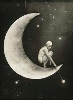 Bathing on the moon. Vintage photo.