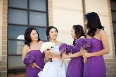 pretty much in love with the purple bridesmade dresses!