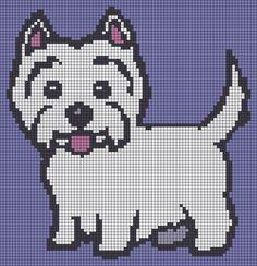 Alpha Friendship Bracelet Pattern added by Terrier, westie, puppy, dog, cute. Cross Stitch Charts, Cross Stitch Embroidery, Cross Stitch Patterns, Animal Knitting Patterns, Knitting Charts, Pixel Art, Mochila Crochet, Stitch Book, Dog Crafts