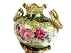 Antique Nippon Vase Ornate Gilt Moriage with Wreath Handles