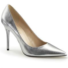 Pleaser USA Silver Metallic Classique Slip-On Pumps Stilettos, Stiletto Pumps, Pointed Toe Pumps, High Heel Pumps, Pump Shoes, Patent Shoes, Shoes Heels, Frauen In High Heels, Stripper Shoes