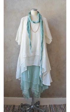 Tunic with similar lines good for me. Make v-neck, sleeveless, navy or royal blue.  Katarina, Cremewhite 1093