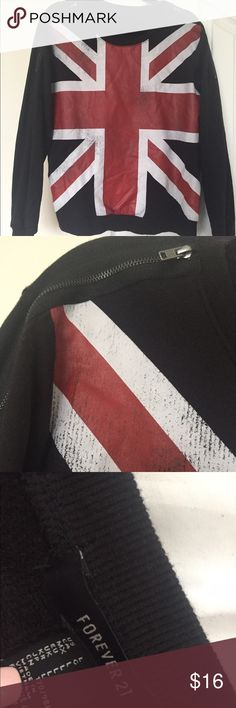 UK Flag Sweater Designed to look a bit worn.  The sweater part is black with the U.K. Flag on front with zippers around the shoulder area Forever 21 Sweaters Crew & Scoop Necks